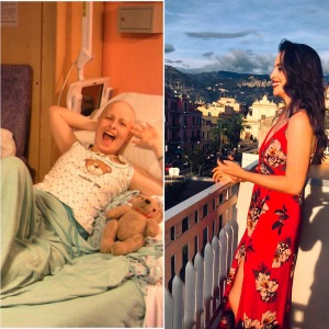 A side by side transformation photo of me in hospital, in 2008 and me now